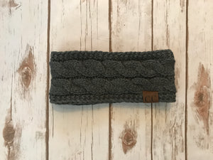 C.C. Cable Knit Headband, Dk Melange Grey