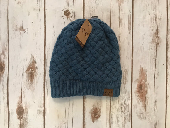C.C. Knitted Basketweave Beanie, Dark Denim