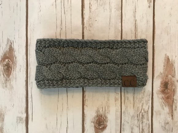 C.C. Cable Knit Headband, Lt Melange Grey