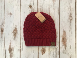 C.C. Knitted Basketweave Beanie, Burgundy