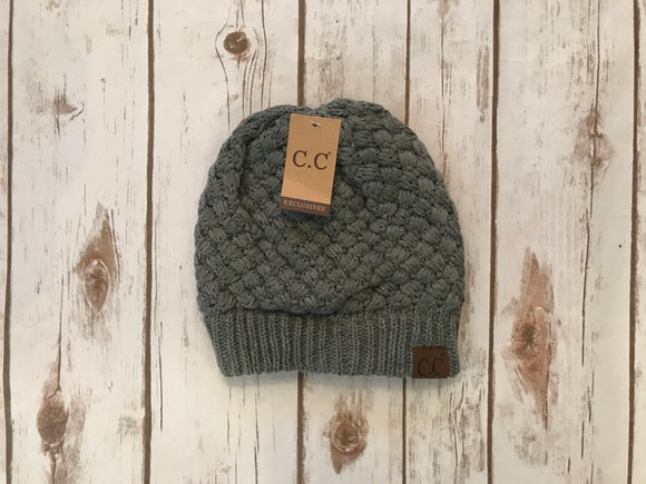 C.C. Knitted Basketweave Beanie, Lt Melange Grey