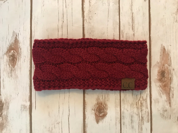 C.C. Cable Knit Headband, Burgundy