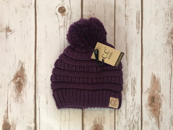 C.C. Pom Pom Beanie Kids, Purple