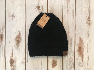 C.C. Knitted Basketweave Beanie, Black