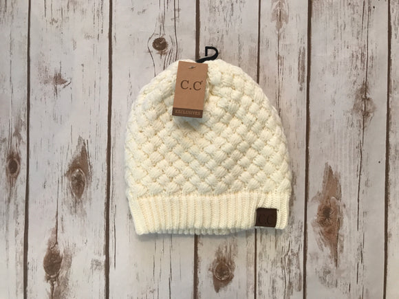 C.C. Knitted Basketweave Beanie, Ivory
