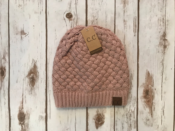 C.C. Knitted Basketweave Beanie, Rose