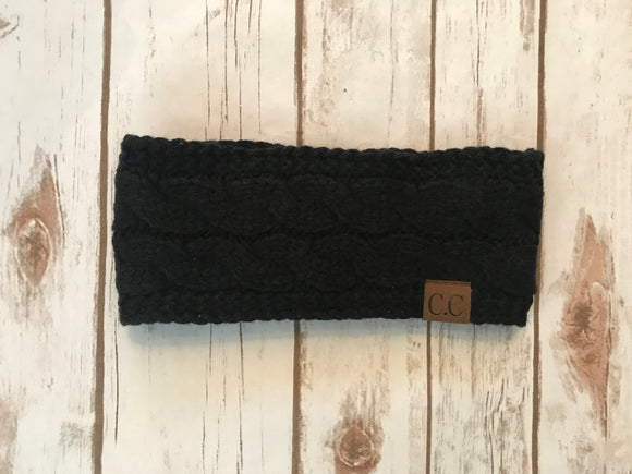 C.C. Cable Knit Headband, Black