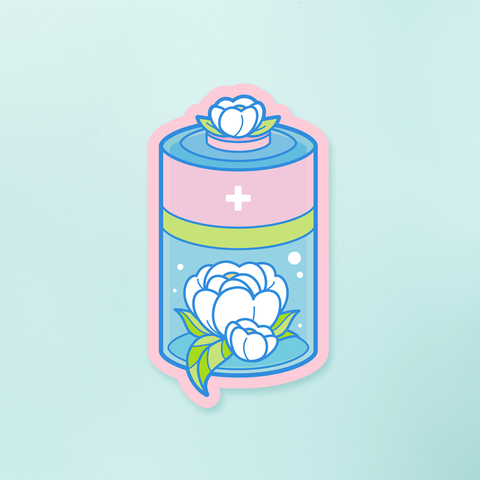 STICKER | BATTERY FLOWERED