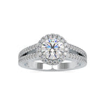 Load image into Gallery viewer, 1 Carat Platinum Halo Split Shank Solitaire Engagement Ring for Women JL PT US-0004