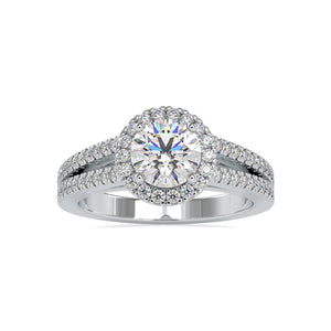 1 Carat Platinum Halo Split Shank Solitaire Engagement Ring for Women JL PT US-0004
