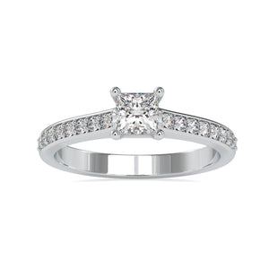 Customised 50-Pointer Princess Cut Platinum Solitaire Engagement Ring with Diamond Studded Shank JL PT US-0011