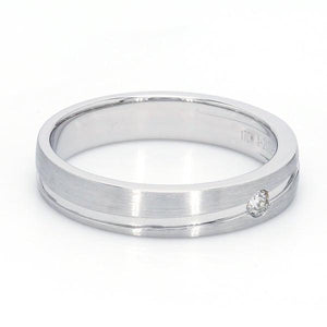 SIDE  View of Simple Platinum Couple Rings with Curvilinear Groove JL PT 569