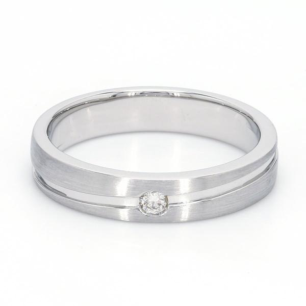 FRONT  View of Simple Platinum Couple Rings with Curvilinear Groove JL PT 569