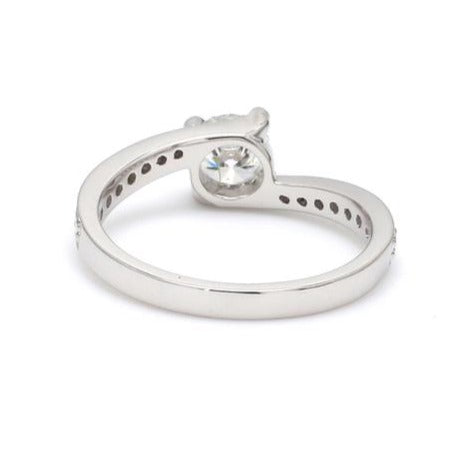 Back View of Designer Curvy Platinum Solitaire Engagement Ring for Women JL PT 480