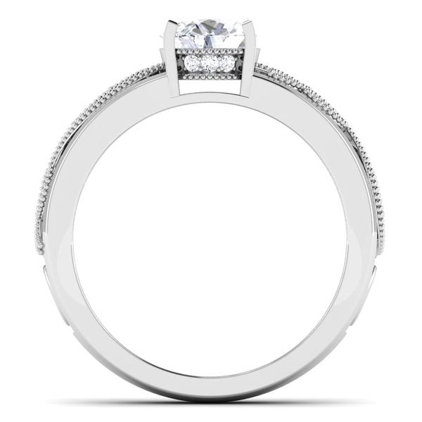 Circle View of Designer 30 Pointer Platinum Shank Diamond Solitaire Engagement Ring JL PT 6847