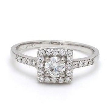 Front View of 30 Pointer Square Halo Diamond Shank Platinum Engagement Ring JL PT 617