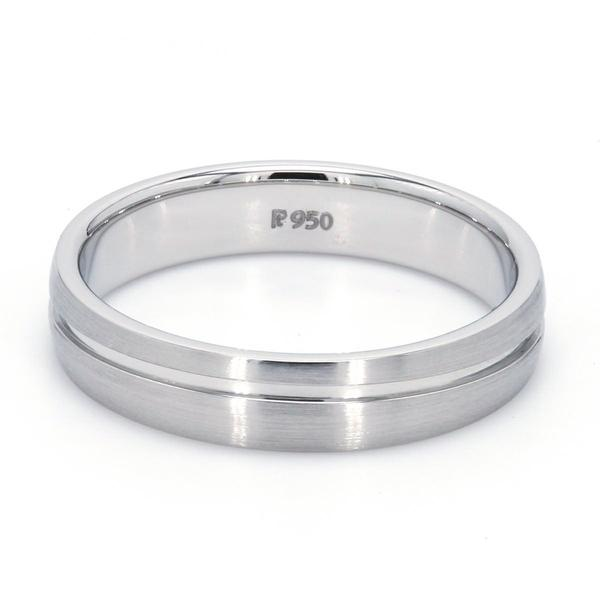BACK View of Simple Platinum Ring with Curvy Groove for Men JL PT 569-M