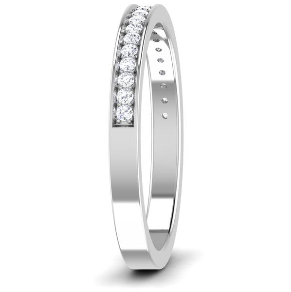 Side View of Designer Half Eternity Platinum Wedding Band with Diamonds JL PT 6746