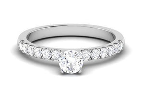 30 Pointer Platinum Solitaire Engagement Ring with Diamond Shank for Women JL PT 479