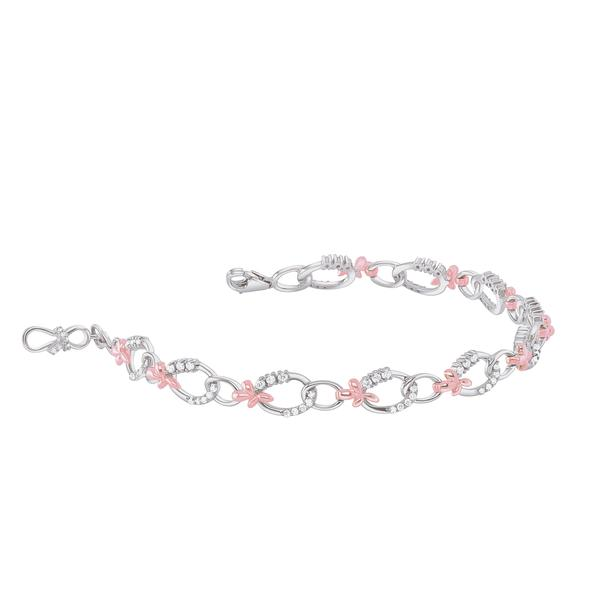 Platinum & Rose Gold Evara Diamond Bracelet for Women JL PTB 639