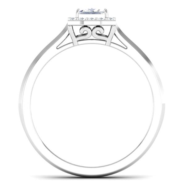 Circle View of 30 Pointer Platinum Halo Princes Cut Diamond Solitaire Engagement Ring JL PT 6997
