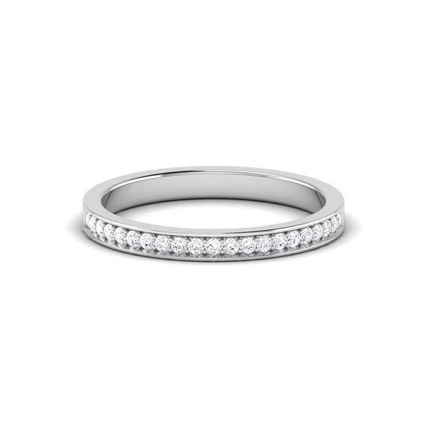 Front View of Designer Half Eternity Platinum Wedding Band with Diamonds JL PT 6746