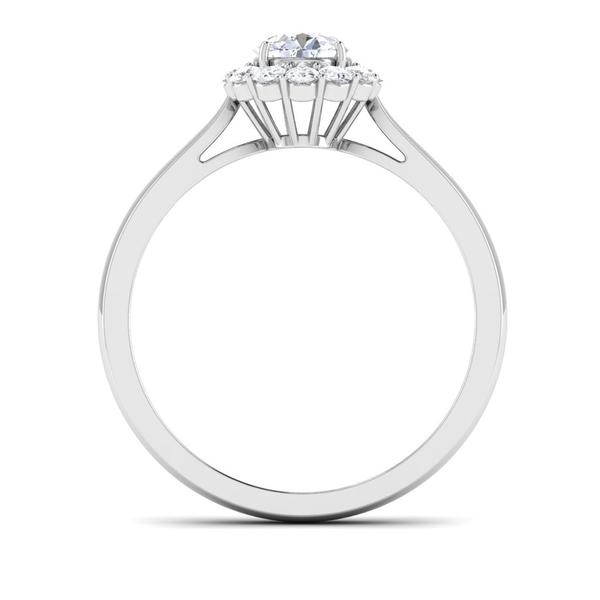 Platinum Solitaire Diamond Engagement Ring with Single Halo JL PT 498