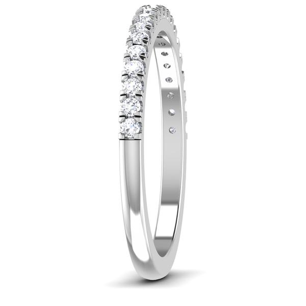Side View of Designer Half Eternity Platinum Wedding Band with Diamonds JL PT 6850
