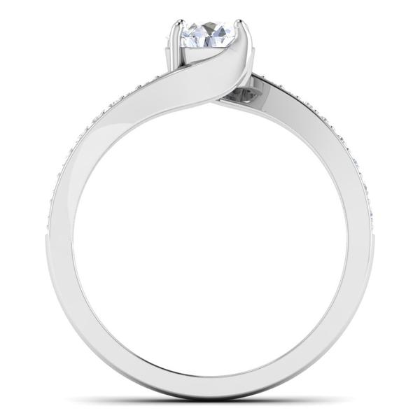 Circle View of Designer Curvy Platinum Solitaire Engagement Ring for Women JL PT 480