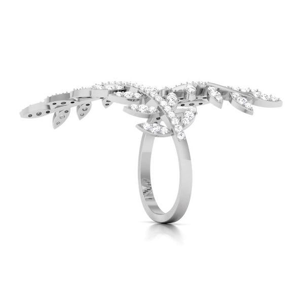 Designer Long Platinum Ring with Diamonds JL PT 554 by Jewelove Side View. How the ring looks from the side?