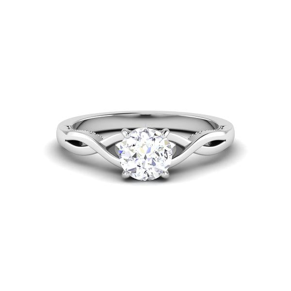 Front View of Designer 30 Pointer Platinum Shank Diamond Solitaire Engagement Ring JL PT 6847