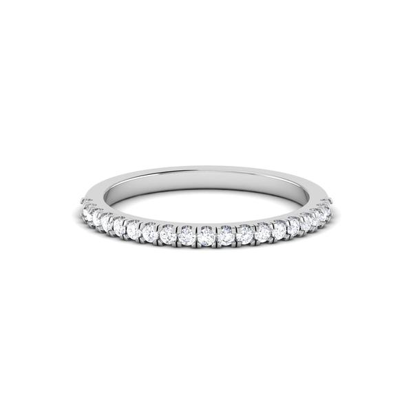 Front View of Designer Half Eternity Platinum Wedding Band with Diamonds JL PT 6850