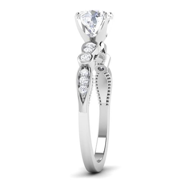 Side View of Designer 30 Pointer Platinum Diamond Solitaire Engagement Ring JL PT 6581
