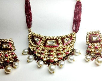 Royal Thepta style Diamond Polki Pendant Set by Jewelove