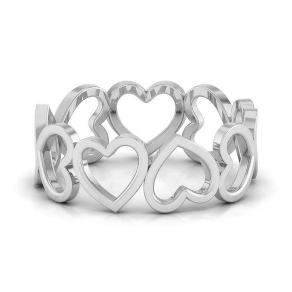 Front View of Eternity of Hearts Plain Platinum Ring JL PT 551 for Women