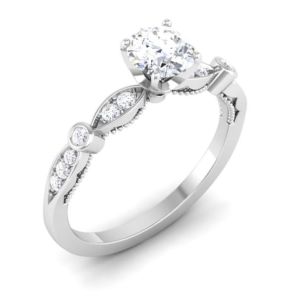 Perspective View of Designer 30 Pointer Platinum Diamond Solitaire Engagement Ring JL PT 6581
