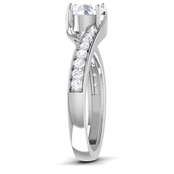 Side View of Designer Curvy Platinum Solitaire Engagement Ring for Women JL PT 480