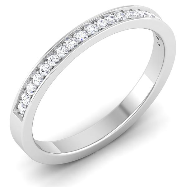 Perspective View of Designer Half Eternity Platinum Wedding Band with Diamonds JL PT 6746