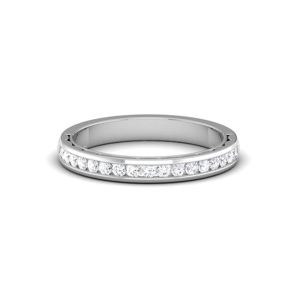 Front View of Designer Half Eternity Platinum Wedding Band with Diamonds JL PT 6731