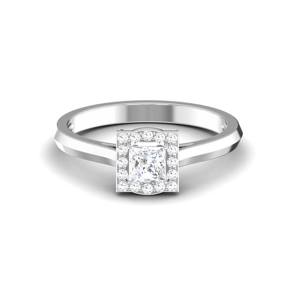 Front 30 Pointer Platinum Halo Princes Cut Diamond Solitaire Engagement Ring JL PT 6997