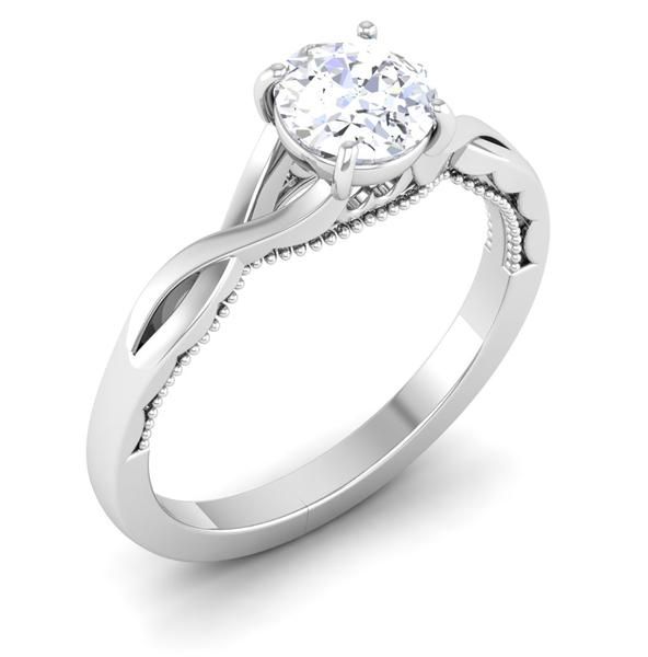 Perspective View of Designer 30 Pointer Platinum Solitaire Engagement Ring JL PT 6583