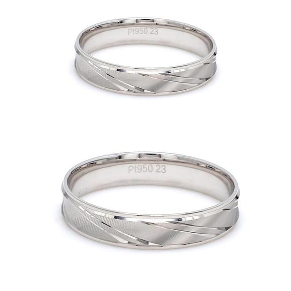 Japanese Designer Platinum Love Bands with Slanting Grooves JL PT 607