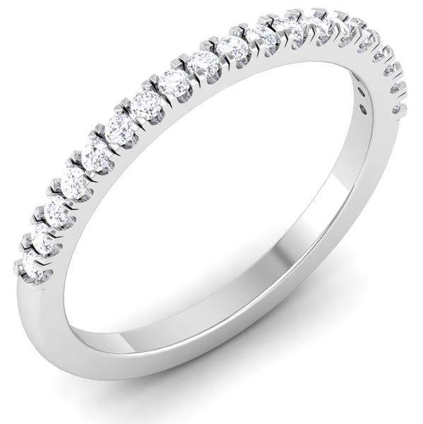 Perspective View of Designer Half Eternity Platinum Wedding Band with Diamonds JL PT 6850
