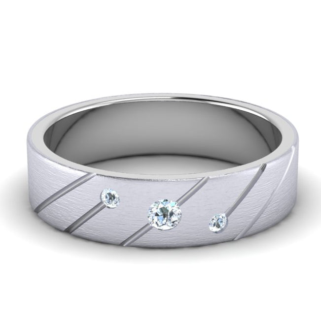 Front View of Designer Platinum with Diamond Love Bands with Slanting Lines JL PT 646