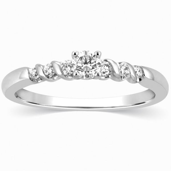 15 Pointer Platinum Single Diamond Ring with Diamond Shank for Women SJ PTO 308 in India