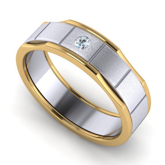 Perspective View of Unique Shape Platinum Love Bands with Single Diamond & Yellow Gold Border JL PT 648 - Yellow Gold