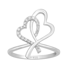 Two Hearts Platinum Ring with Diamonds JL PT 336