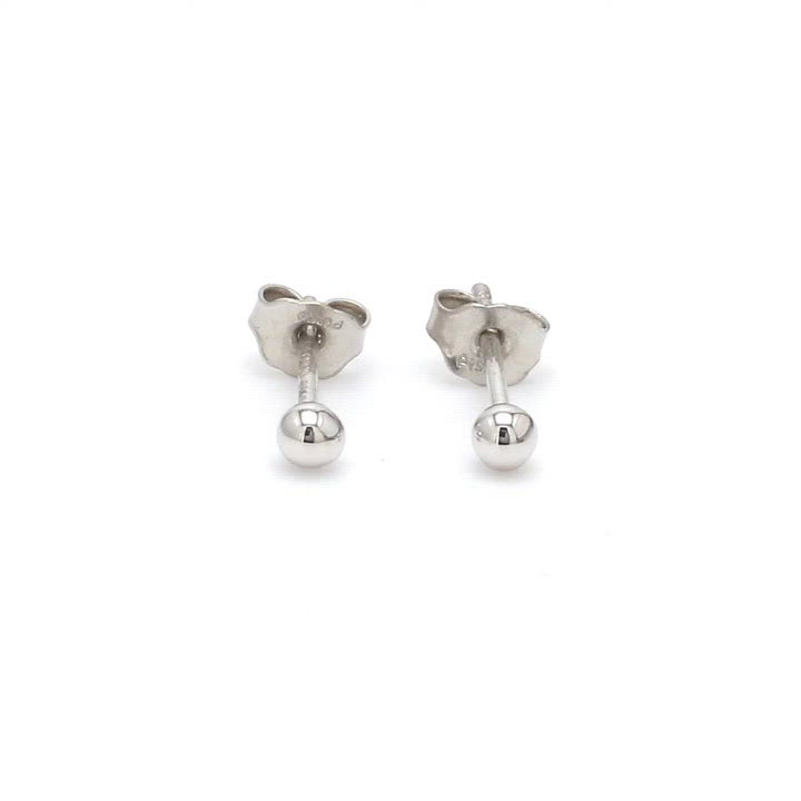 3mm Platinum Ball Earrings Studs JL PT E 182