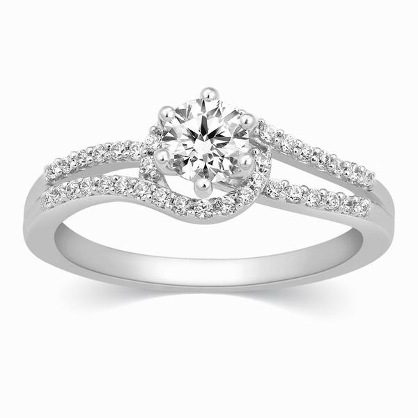 Front View of 0.30 cts. Solitaire Engagement Ring for Women with a Curvy Diamond Shank JL PT 331