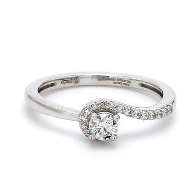 Front View of 20 Pointer Designer Curvy Solitaire Platinum Ring for Women JL PT 576